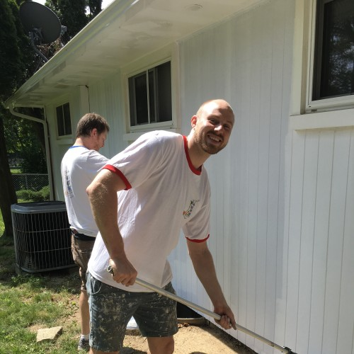 Gareth from Just Add Paint, working hard in Camp Hill, PA. Exterior Painting.