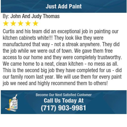 Just Add Paint cabinet painting Mechanicsburg, PA 5-STAR REVIEW